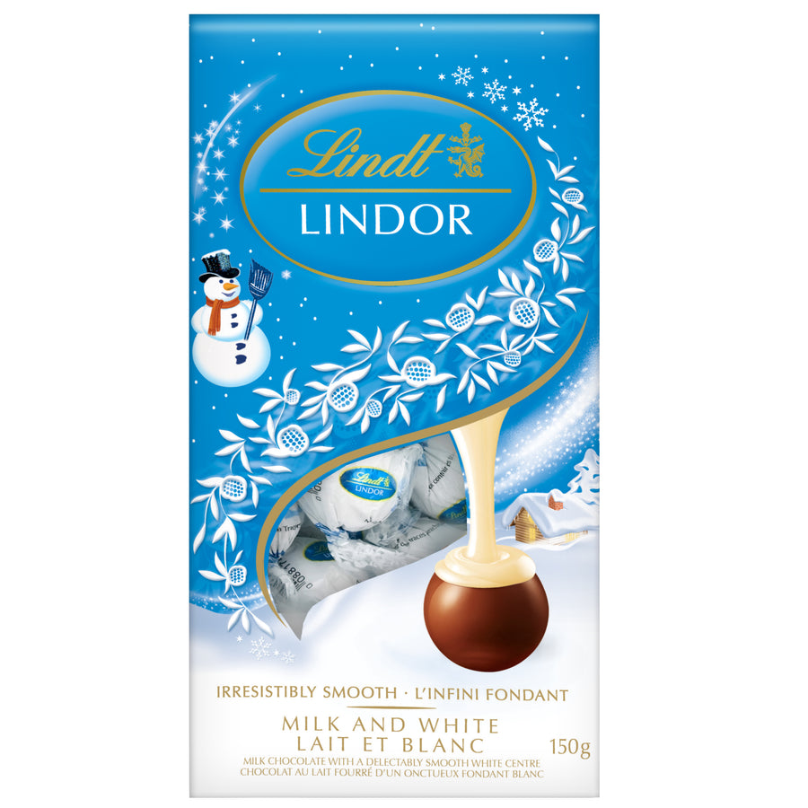 Lindt LINDOR Snowman Milk and White Chocolate Truffles Bag 150g (Delivery Only)