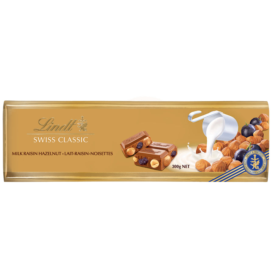 Lindt Swiss Classic Gold Milk Chocolate with Raisin & Hazelnut Bar 300g