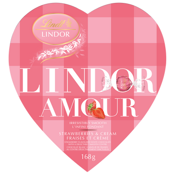 Lindt LINDOR AMOUR Strawberries & Cream White Chocolate Truffles Heart Box 168g