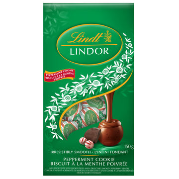 Lindt LINDOR Milk Chocolate Peppermint Cookie Truffles Bag 150g