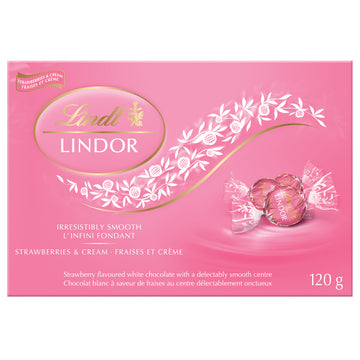 Lindt LINDOR Strawberries & Cream White Chocolate Truffles Box 120g