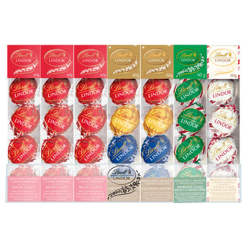 Lindt LINDOR Assorted Chocolate Truffles Mixed Ornament Treasure Box, 28 pack, 1680g (Delivery Only)