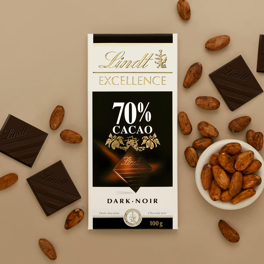 Lindt Excellence 70% Cacao Dark Chocolate Bar 100g