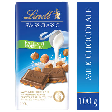 Lindt Swiss Classic Milk Chocolate Hazelnut 100g Bar
