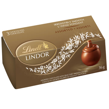 Lindt LINDOR Assorted Chocolate Truffles 3-Pack Carton (16 x 3-pack) 576g