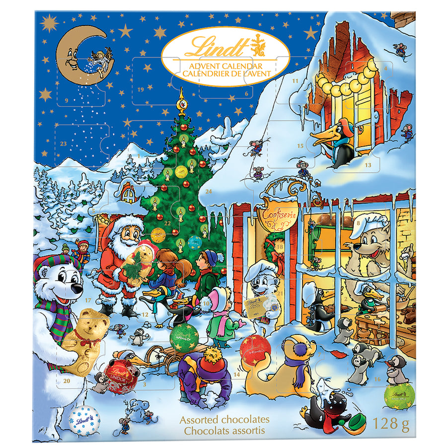 Lindt Kids Christmas Assorted Milk Chocolate Advent Calendar 128g (BOGO)