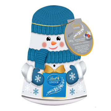 Lindt LINDOR Assorted Chocolate Truffles Snowman Wobble Tin 240g