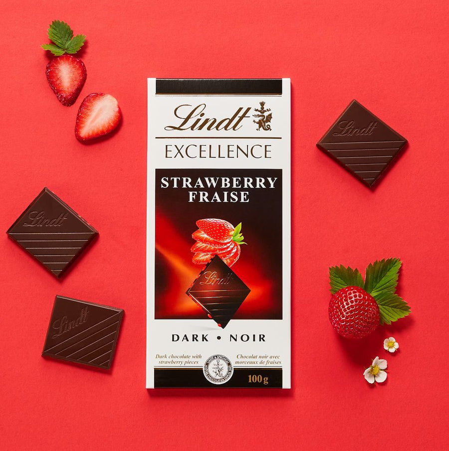 Lindt Excellence Strawberry Dark Chocolate Bar 100g