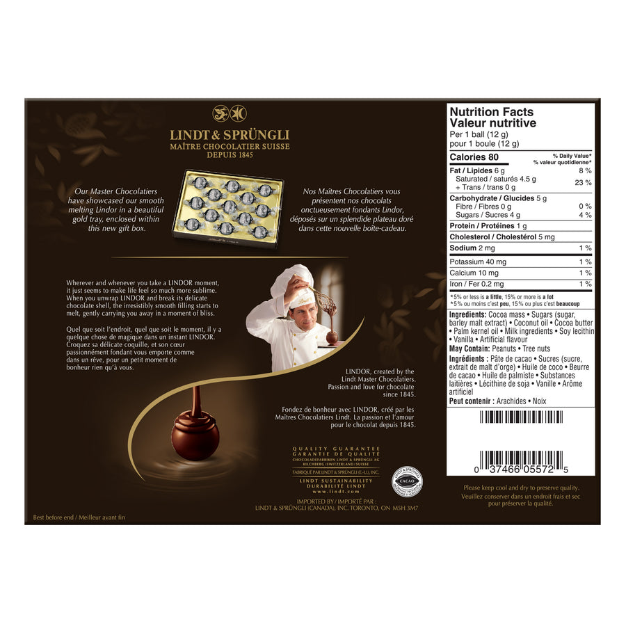 Lindt LINDOR 60% Cacao Dark Chocolate Truffles Box 156g