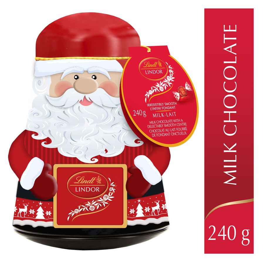 Lindt LINDOR Milk Chocolate Truffles Santa Wobble Tin 240g