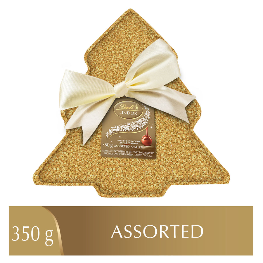 Lindt LINDOR Assorted Chocolate Truffles Sequin Tree Tin 350g