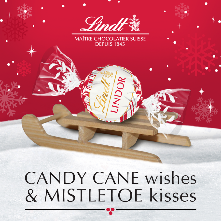 Lindt LINDOR White Chocolate Candy Cane Truffles Bag 150g
