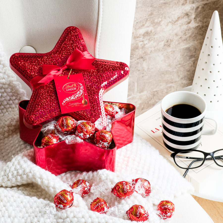 Lindt LINDOR Milk Chocolate Truffles Sequin Star Tin 350g (Delivery Only)