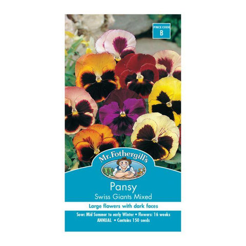 Pansy 'Swiss Giants Mixed' Flower Seeds ( 150 Seeds ) - Johnny Boy