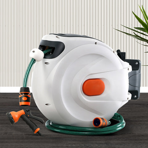 Greenfingers 10M Retractable Water Hose Reel Garden Spray Gun Storage AutoRewind