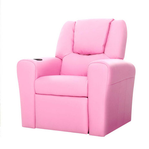 Luxury Kids Recliner Sofa Children Lounge Chair Couch PU Armchair PINK