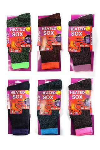 6 x Ladies Heated Thermal Socks Woman's mixed colours A Must for this winter - Johnny Boy