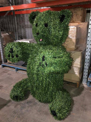 Lifesize Teddy Bear Steel Framed Topiary Synthetic Green Grass Sculpture - JohnnyBoyAus