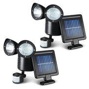 Set of 2 x 22 LED Solar Powered Dual Light Security Motion Sensor Flood Lamp Outdoor