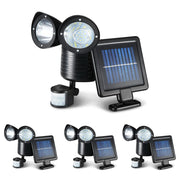 Set of 4 x  22 LED Solar Powered Dual Light Security Motion Sensor Flood Lamp Outdoor