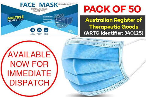 TGA Surgical Face Masks Box of 50 ( 3 Layer ) - JohnnyBoyAus