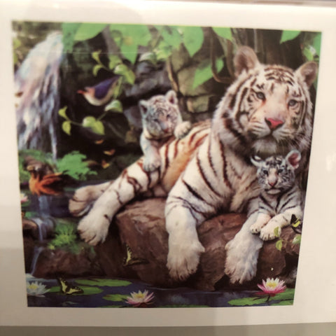 White Tiger Diamond Painting Art Kit Set 30 x 30 Full Drill Round 5D - JohnnyBoyAus