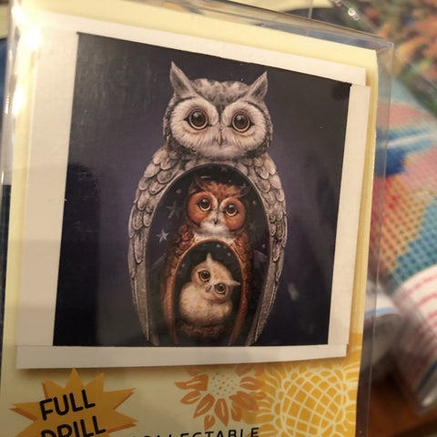 Owl Diamond Painting Art Kit Set 30 x 30 Full Drill Round 5D - JohnnyBoyAus