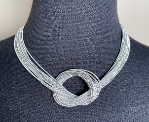 Piano Wire Knot Necklace (silver/white mix)