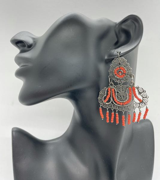 Coral & Sterling Silver Mexican Earrings