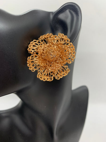 Metal Crochet Flower Earrings