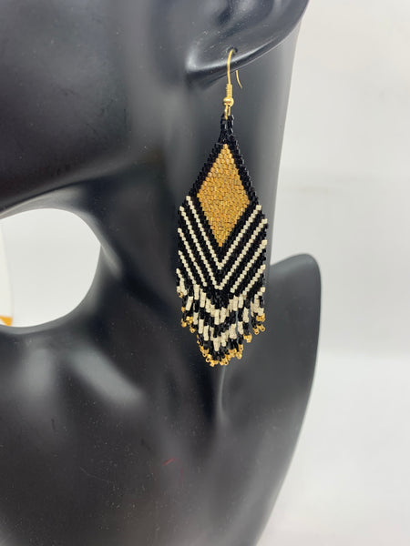 Gold Diamond Beaded Earrings