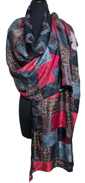 Silk Patchwork Shawl (crimson)