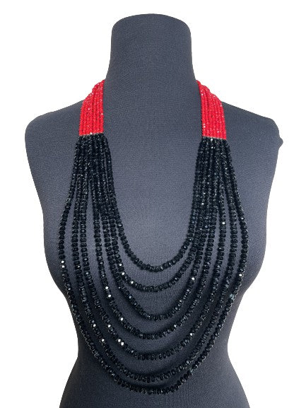 7 Strand Crystal Necklace