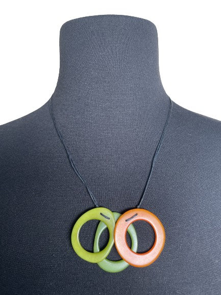 3 Ring Tagua Nut Necklace (available in 6 colors)