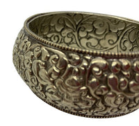 Nepali Hand-Carved Silver Bangle