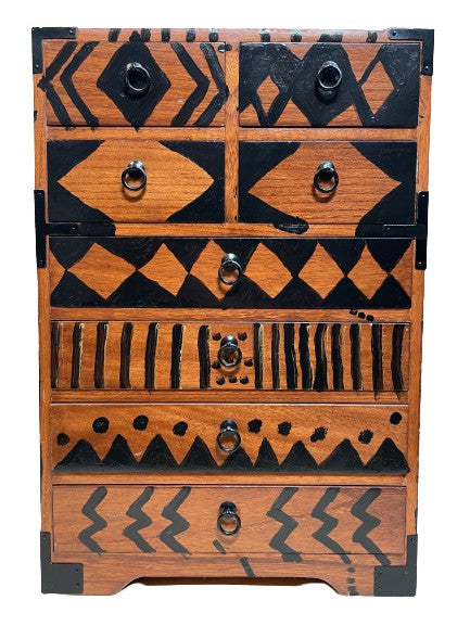 Antique Japanese Wood Chest (Hand painted by Oliver Lake)
