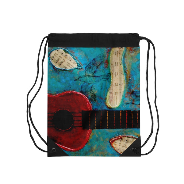 Drawstring Bag - Red Ukelele - Artinzene