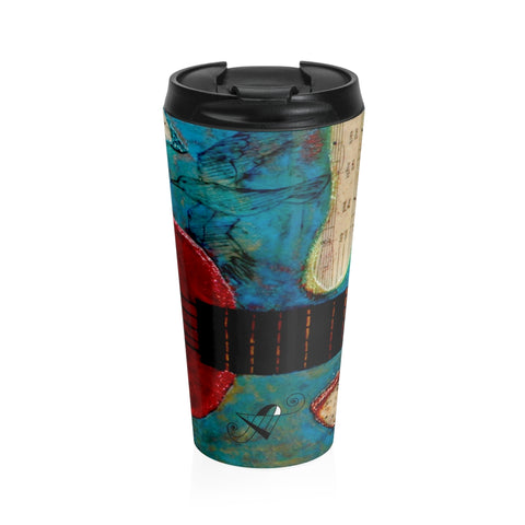 Travel Mug Red Ukelele 2 - Artinzene