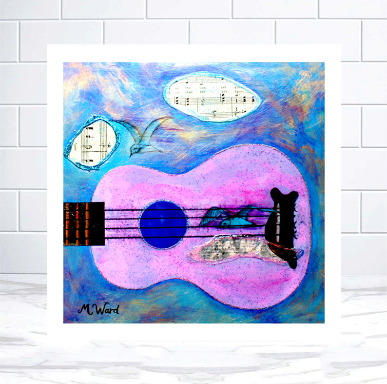 MUSICAL BIRDS SERIES - Mixed-Media - Pink Ukulele Print - Artinzene