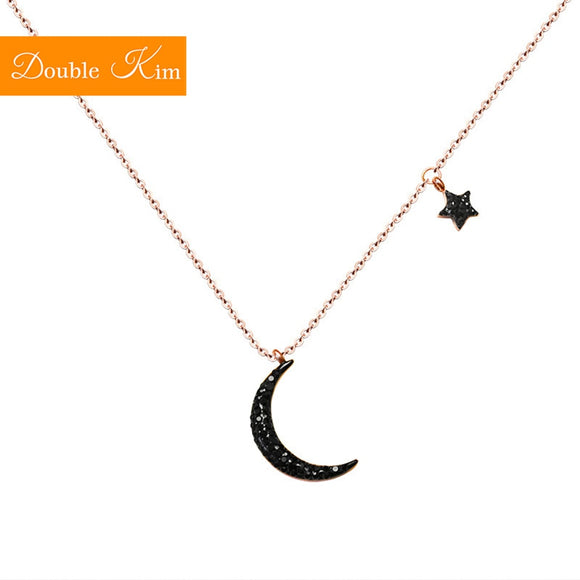 Black Moon Star Pendant Necklace Titanium Stainless Steel Inlaid Zircon Necklace Fashion Trendy Women Jewelry Gift Dropshipping