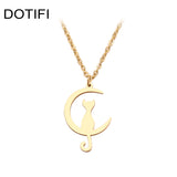 DOTIFI  Stainless Steel Necklace For Women Man Cat Moon Pendant Gold And Silver Color Pendant Necklace Engagement Jewelry