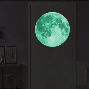 Large Luminous Moon 3D Effect Wall Stickers for Kids Room Home Decoration Wall Decals Glow in the Dark Living Room Bedroom Mural