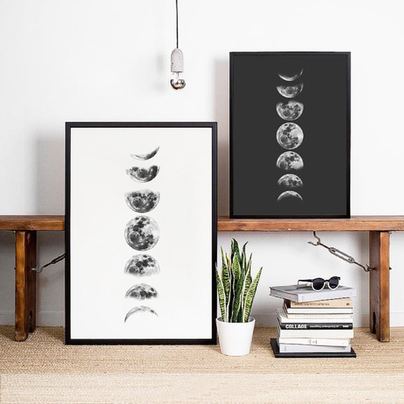 Moon Phases Wall Art Canvas Poster Print , Black and White Moon Phases Poster Painting La Luna Pictures Home Wall Art Decor