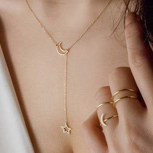 New Trend Fashion Pendant Gold Necklace Women Stars Moon Adjustable Chain Party Dating Birthday Gift Accessories