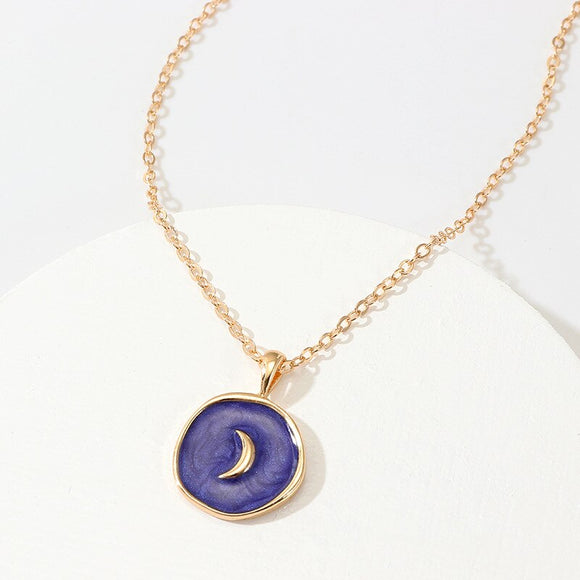 SRCOI 2019 Simple Harajuku Sweet Cute Moon Star Heart Enamel Necklace Korean Fashion Round Heart Lightning Delicate Necklace New