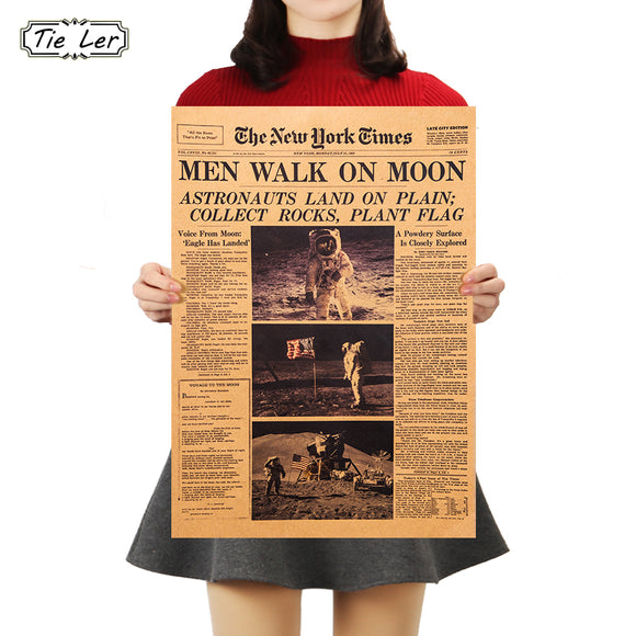 TIE LER The Apollo 11 Moon Landing New York Times Vintage Poster Kraft Paper Retro Kids Room Decoration Wall Sticker 51*35.5cm