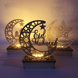 Wooden Ramadan Eid Mubarak Decorations for Home Moon LED Light Wooden Plaque Hanging Pendant for EID Muslim Decor Ramadan Gift