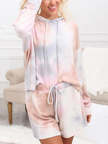 Loose Style Hooded Tie-Dye Printed Clothing Set