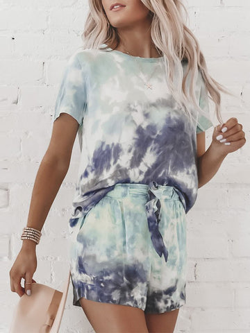 Casual Style Short Sleeve Tie-Dye Clothing Set
