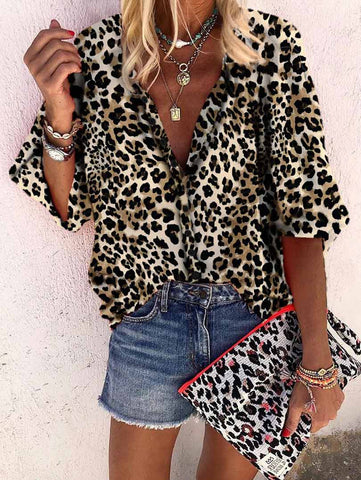 Leopard Printed V Collar Button Shirt